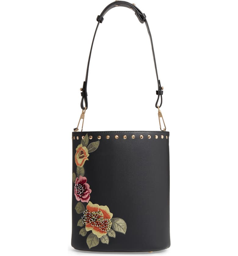 TOPSHOP Sadie Floral Faux Leather Bucket Bag, Main, color, 001