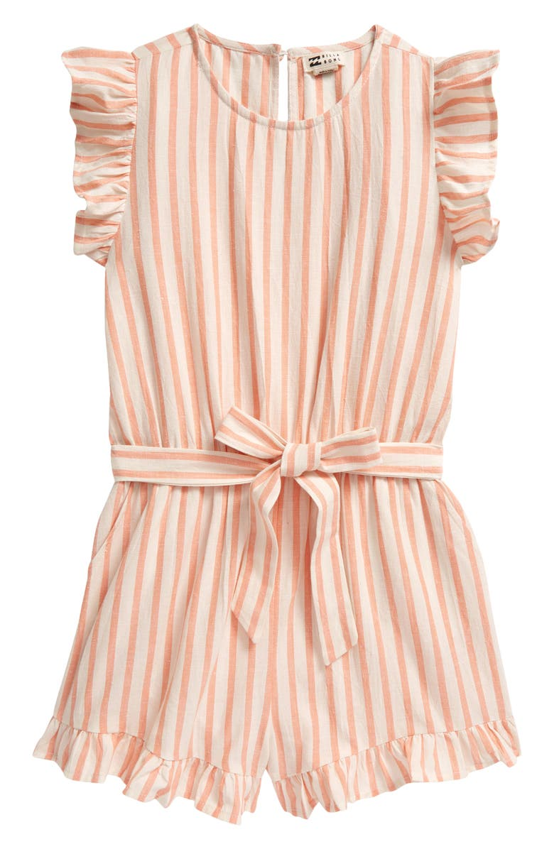 BILLABONG Bilabong Kids' Shortcakes Stripe Ruffle Romper, Main, color, 950
