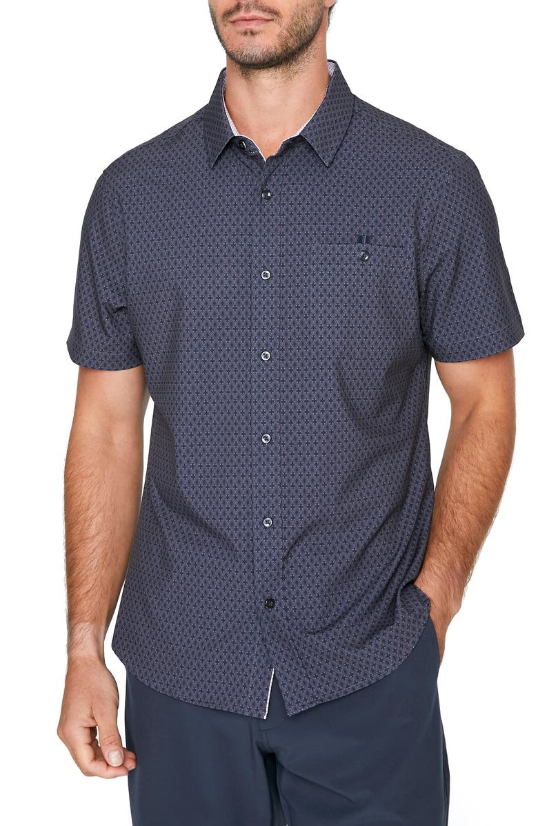 7 DIAMONDS Flawless Short Sleeve Button-Up Shirt, Main, color, CHARCOAL