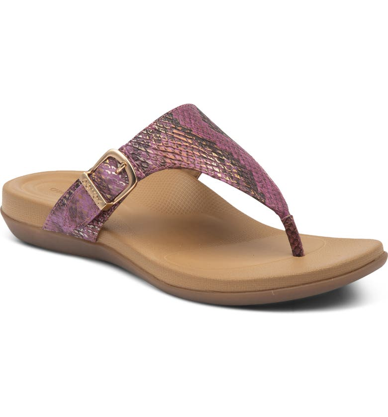 AETREX Rita Water Resistant Flip Flop, Main, color, PINK SNAKE FAUX LEATHER