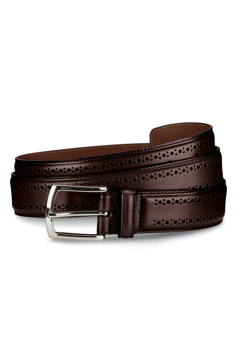 ALLEN EDMONDS Manistee Brogued Leather Belt, Main, color, OXBLOOD