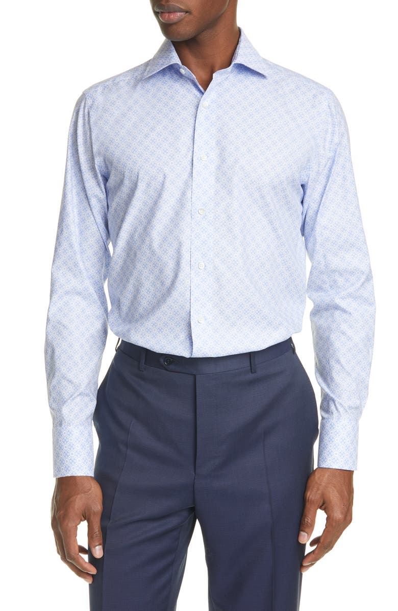 CANALI Trim Fit Floral Dress Shirt, Main, color, 450