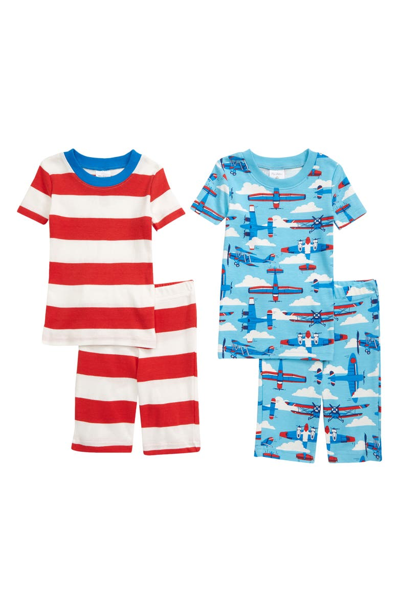 MINI BODEN Kids' 2-Pack Cosy Fitted Two-Piece Short Pajamas, Main, color, SURFBOARD BLUE PLANES