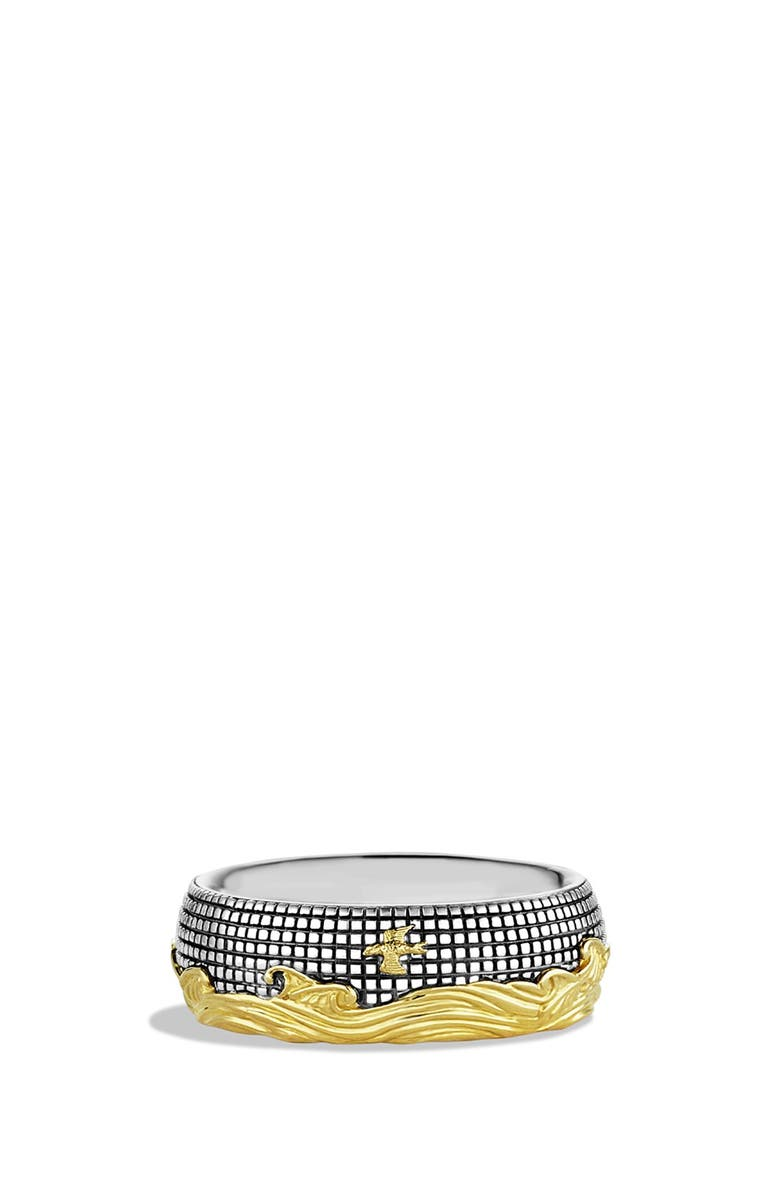 DAVID YURMAN Waves Band Ring with Gold, Main, color, TWO TONE
