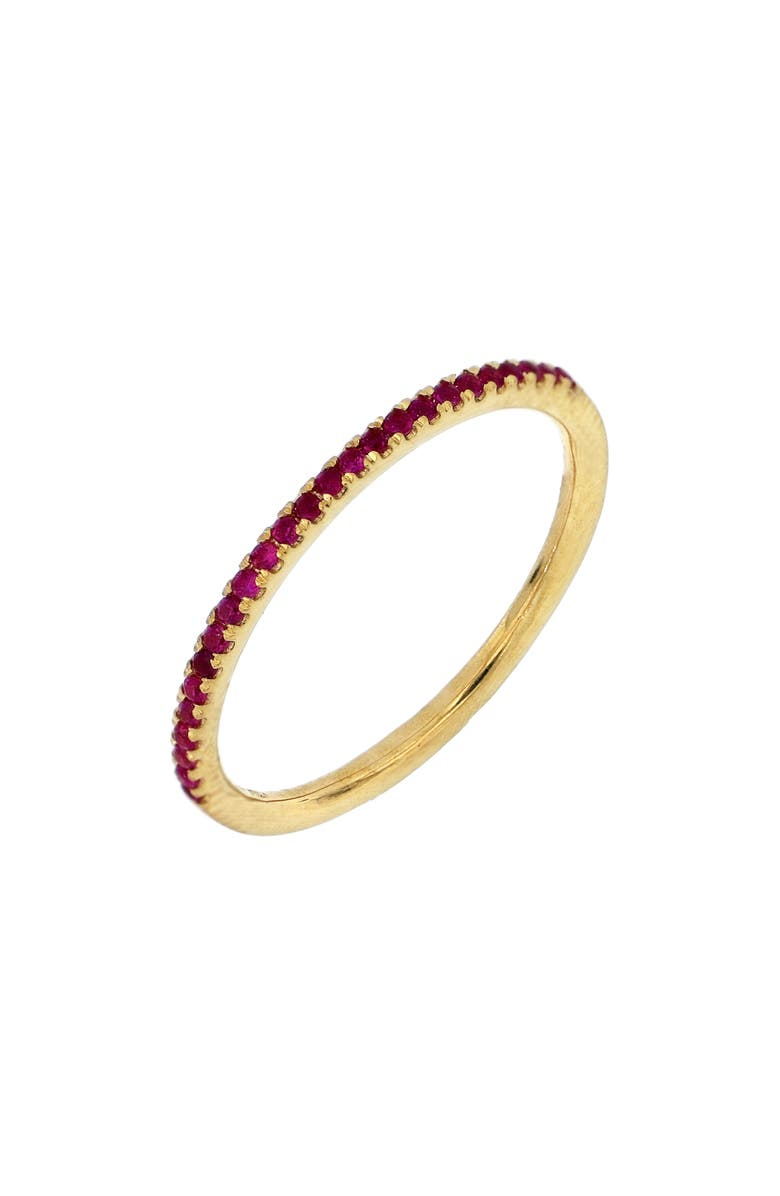 BONY LEVY Stackable Ruby Ring, Main, color, YELLOW GOLD/ RUBY