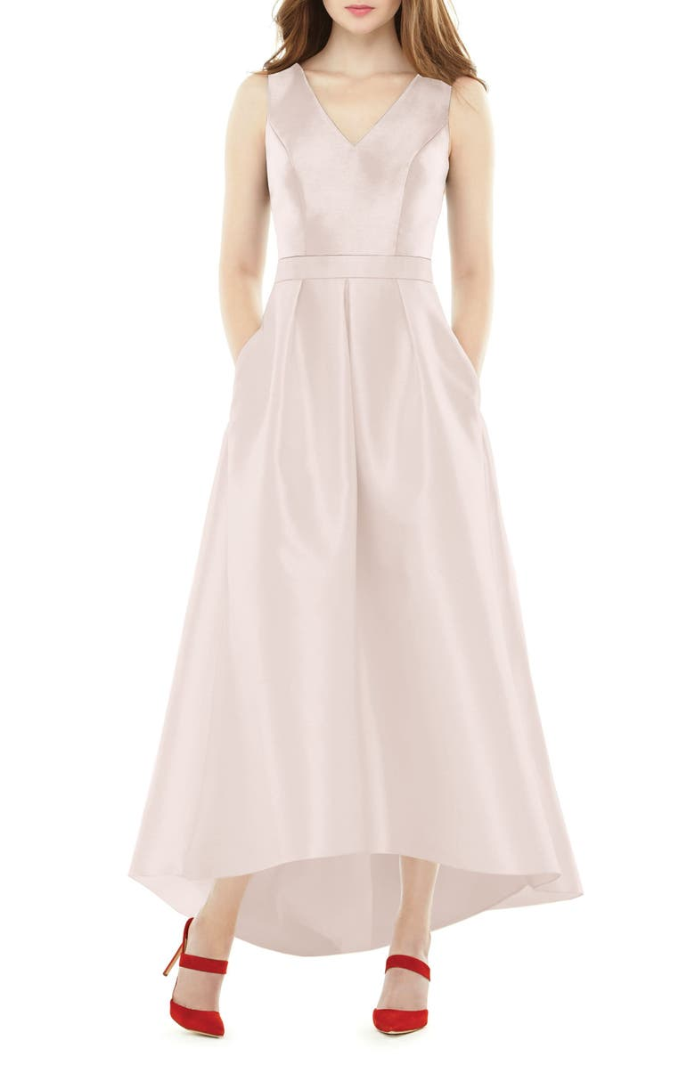 ALFRED SUNG Satin High/Low Gown, Main, color, BLUSH