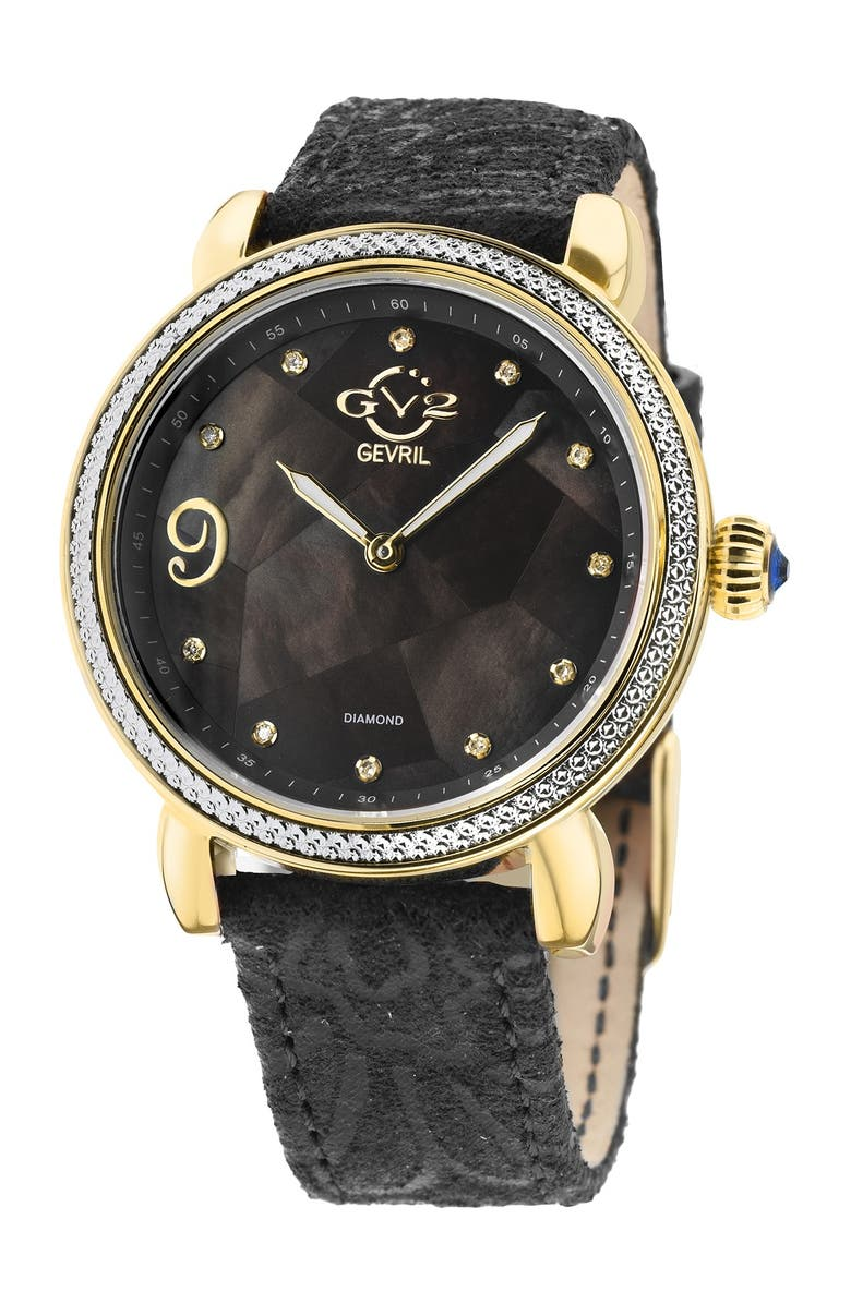 GV2 Women's GV2 Ravenna Mother of Pearl Diamond Suede Embossed Strap Watch, 37mm - 0.053 ctw, Main, color, BLACK