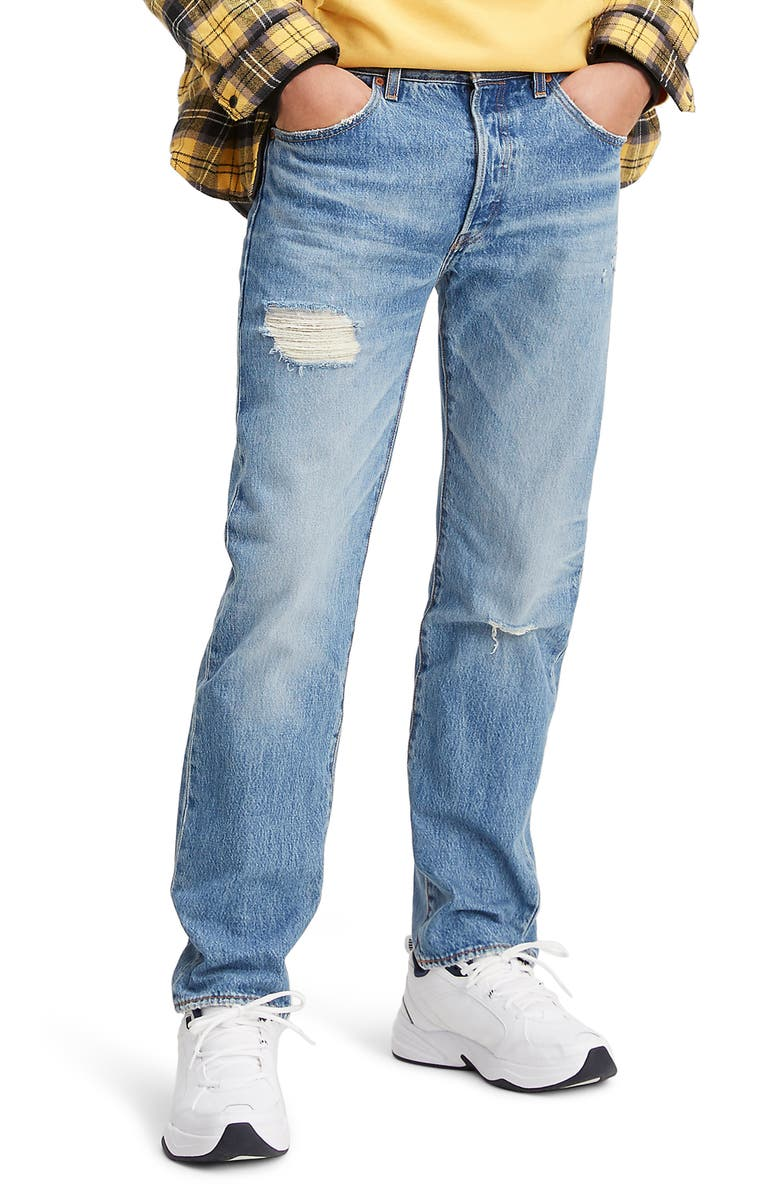 LEVI'S<SUP>®</SUP> 501<sup>®</sup> '93 Ripped Straight Leg Jeans, Main, color, 420