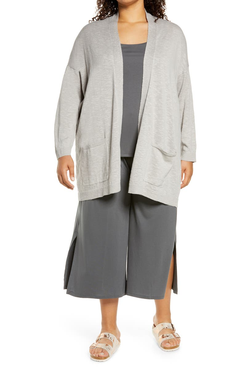 EILEEN FISHER Organic Linen & Cotton Cardigan, Main, color, SILVER