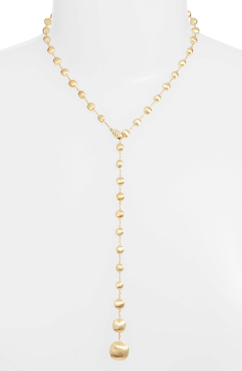 MARCO BICEGO Africa 18K Gold & Diamond Lariat Necklace, Main, color, YELLOW GOLD