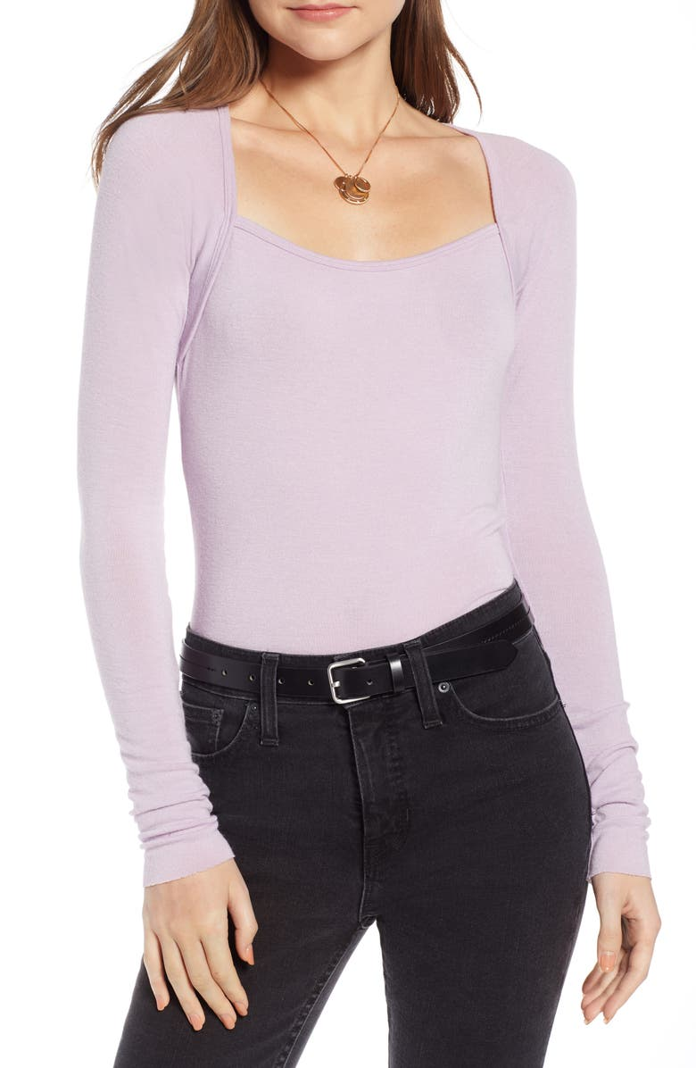 SOMETHING NAVY Square Neck Top, Main, color, 530