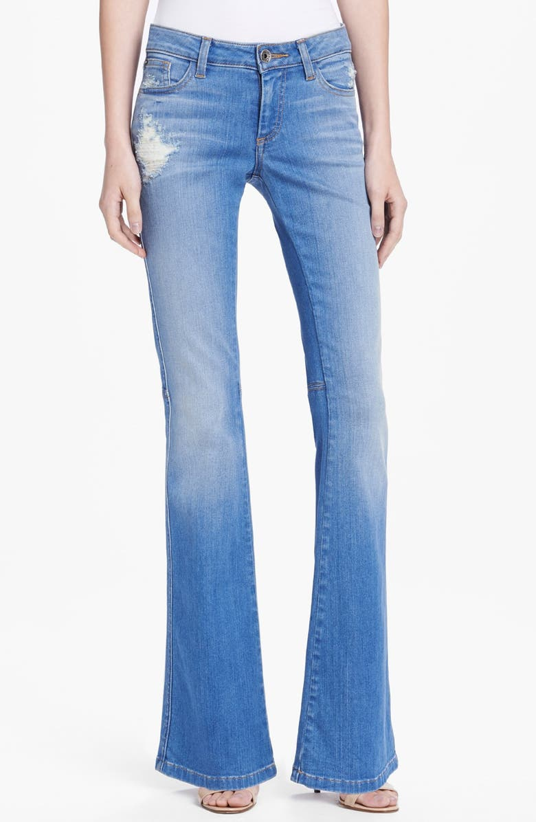 ALICE + OLIVIA 'Stacy' Distressed Bell Bottom Jeans, Main, color, LIGHT INDIGO