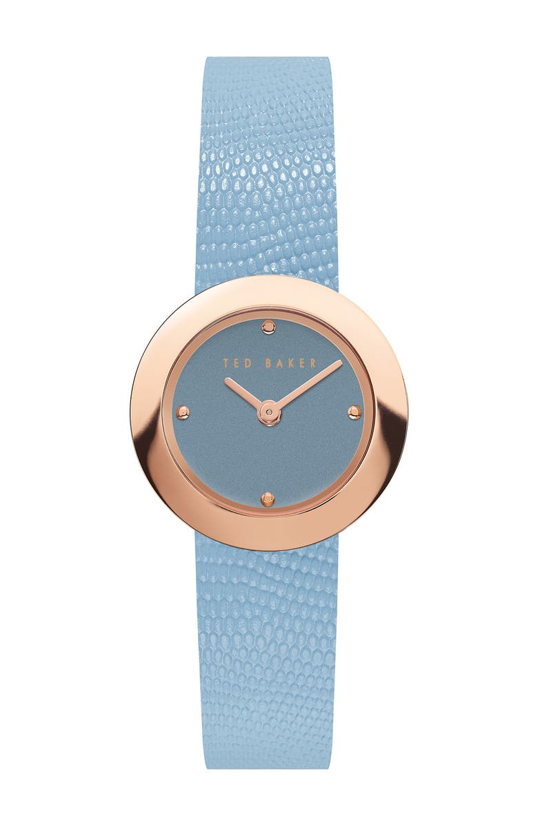 TED BAKER LONDON Women's Serena Lizard Embossed Leather Strap Watch, 24mm, Main, color, ROSE GOLD/ LIGHT BLUE