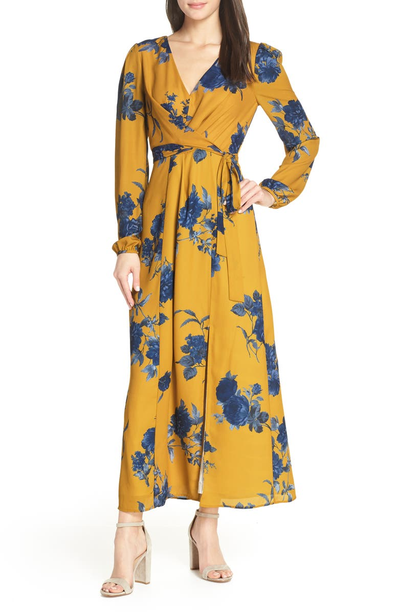 CHELSEA28 Floral Print Long Sleeve Faux Wrap Maxi Dress, Main, color, 700