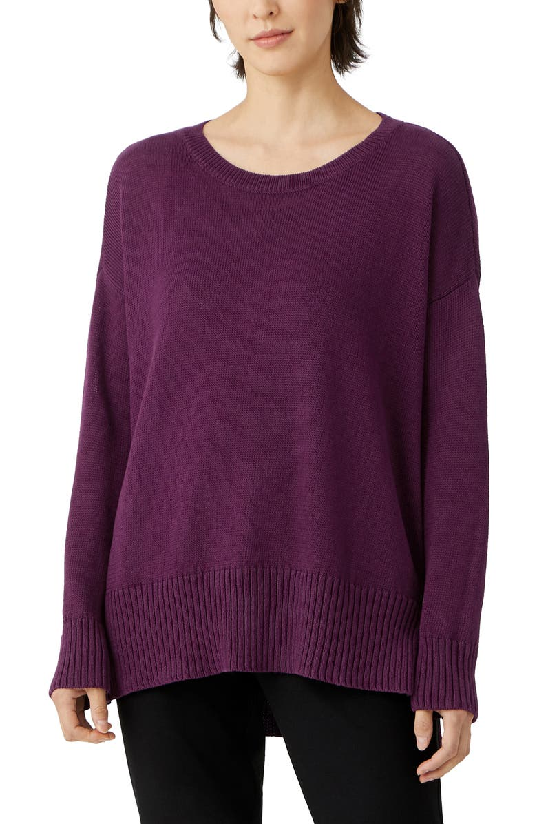 EILEEN FISHER Linen & Cotton Tunic Sweater, Main, color, BLACKBERRY