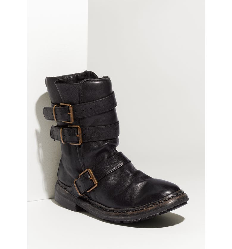 BURBERRY Buckled Leather Boot, Main, color, 001