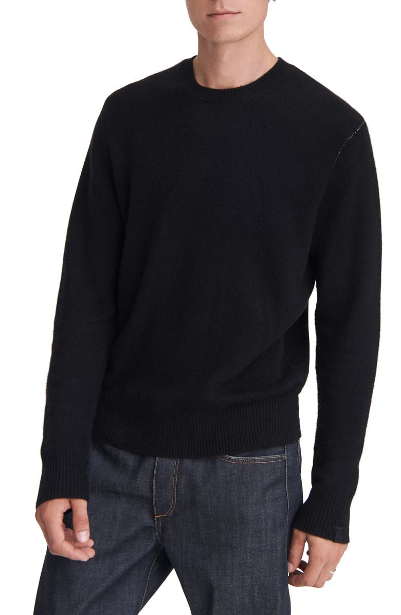 RAG & BONE Haldon Cashmere Crewneck Sweater, Main, color, BLACK