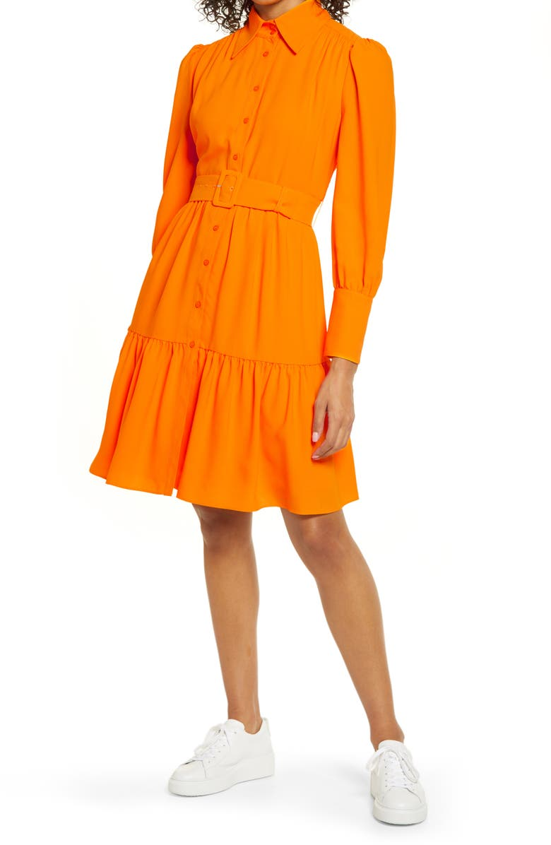 HALOGEN<SUP>®</SUP> x Atlantic-Pacific Belted Long Sleeve Shirtdress, Main, color, ORANGE BRIGHT
