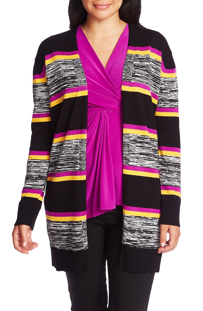 CHAUS Stripe Open Front Cardigan, Main, color, 006