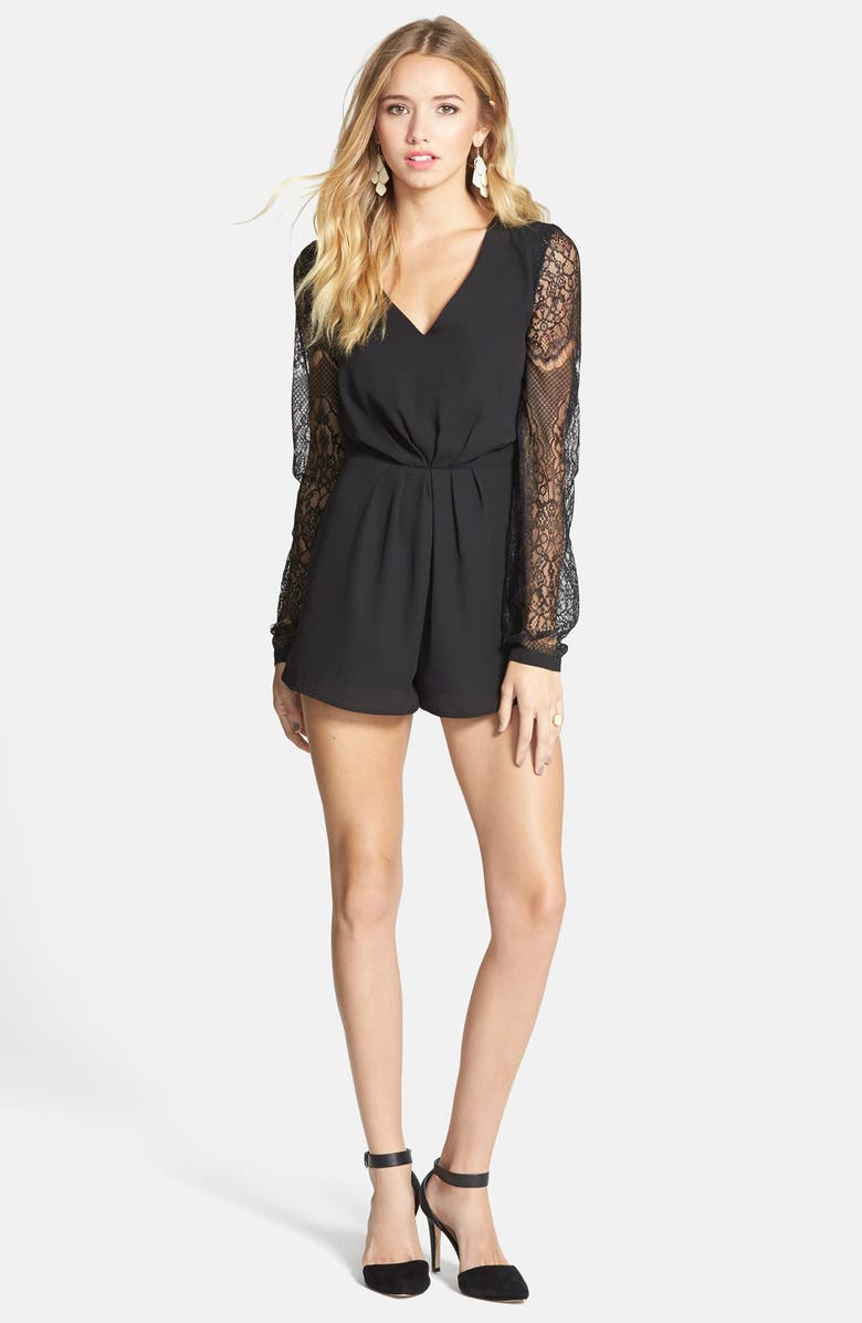 HOMMAGE Lace Inset Romper, Main, color, 001