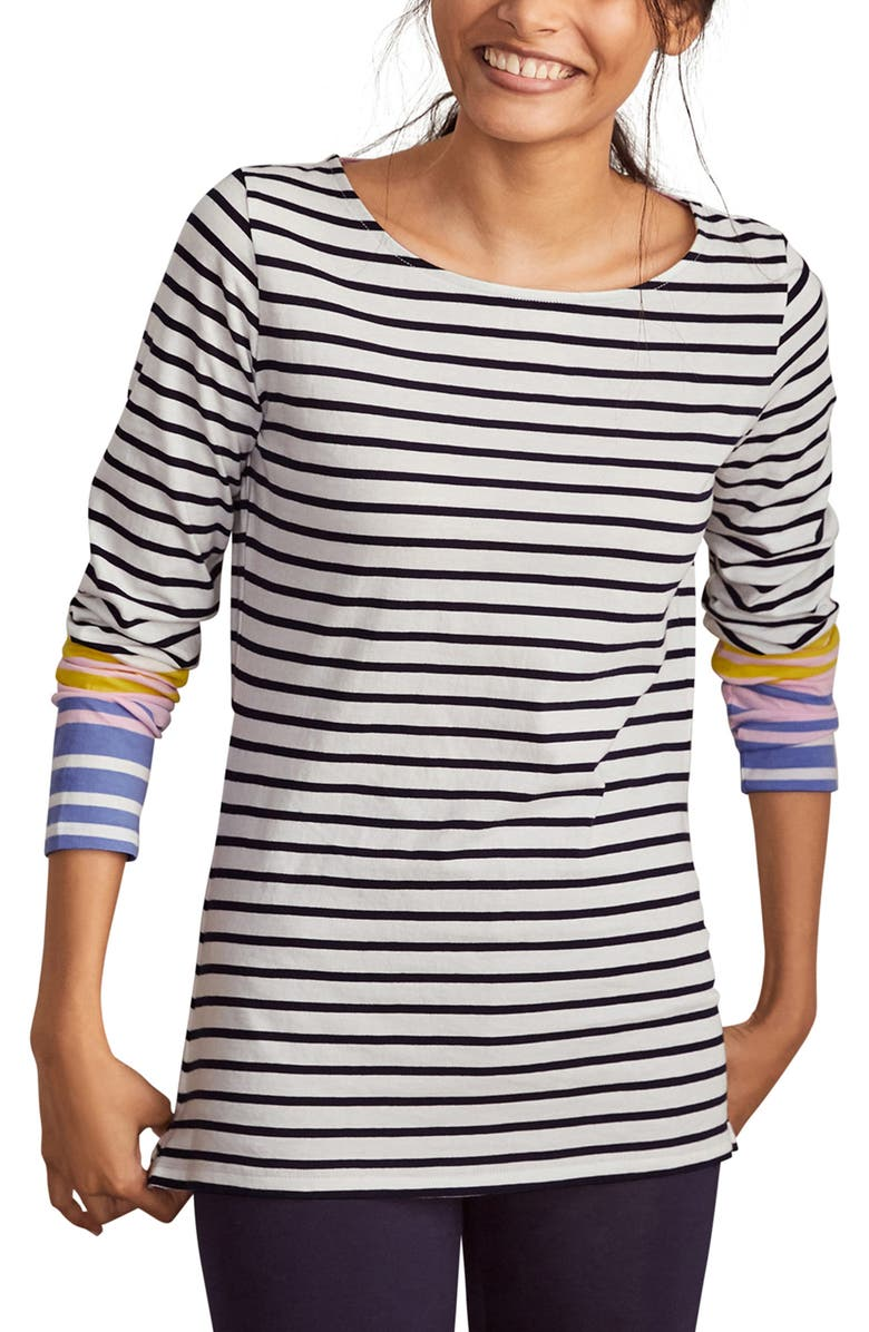 BODEN Long Sleeve Breton Top, Main, color, SPRING BLOSSOM AND GULF BLUE