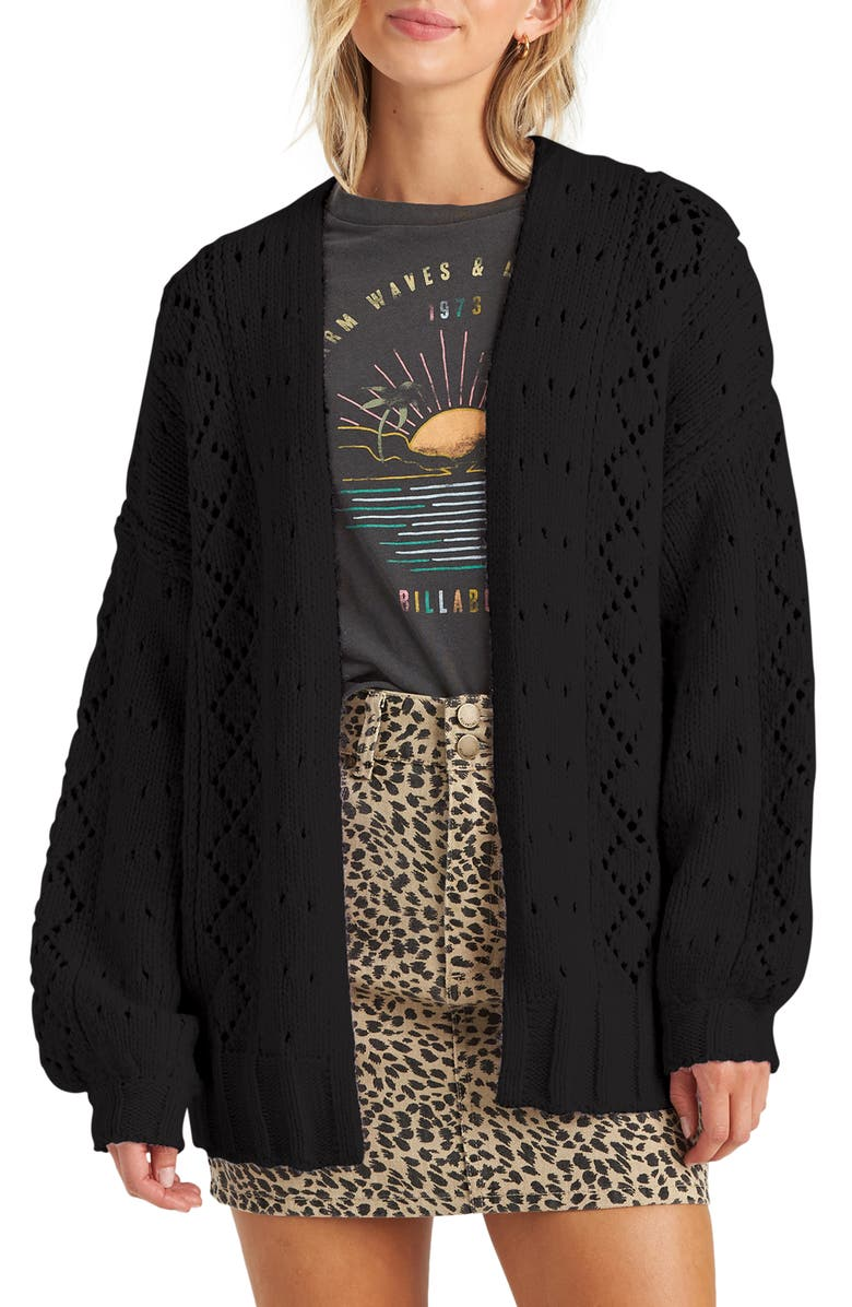 BILLABONG Blissed Out Pointelle Cardigan, Main, color, 001