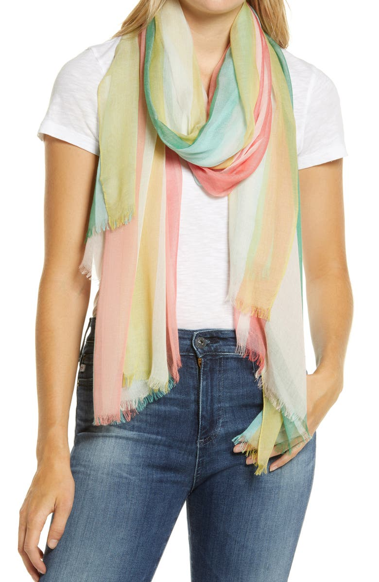 NORDSTROM Yarn Dyed Stripe Wrap, Main, color, GREEN COMBO MELLOW OMBRE