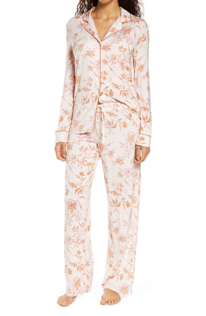 NORDSTROM LINGERIE Moonlight Pajamas, Main, color, PINK CREOLE BRUSHED FLORAL