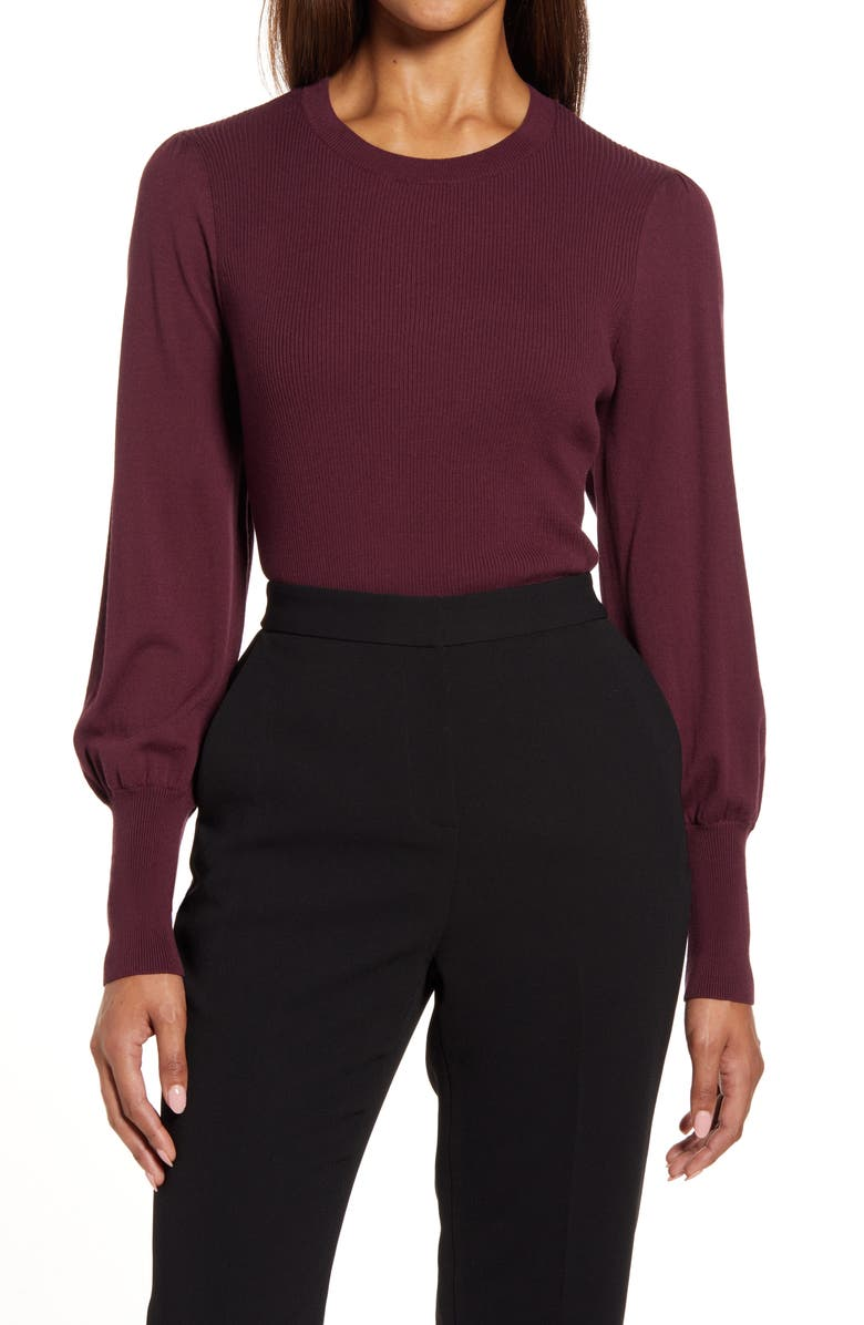 HALOGEN<SUP>®</SUP> Puff Sleeve Sweater, Main, color, BURGUNDY STEM