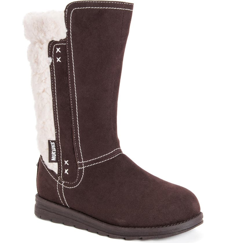 MUK LUKS Stacy Faux Fur Lined Boot, Main, color, BROWN