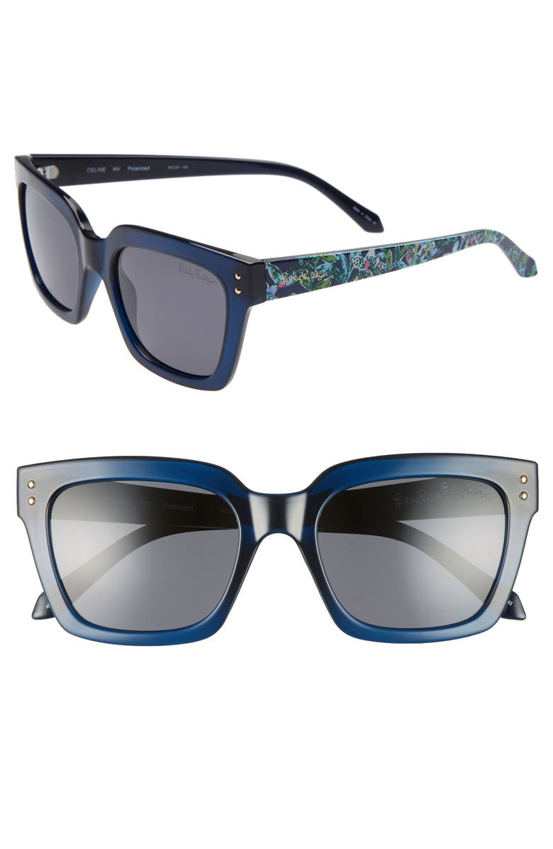 LILLY PULITZER<SUP>®</SUP> Lilly Pulitzer Celine 54mm Polarized Square Sunglasses, Main, color, NAVY CRYSTAL/ SOLID SMOKE