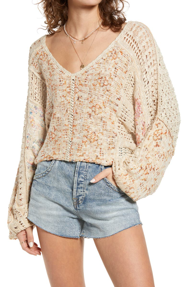 FREE PEOPLE Open Stich Oversize Sweater, Main, color, RAIN SONG COMBO