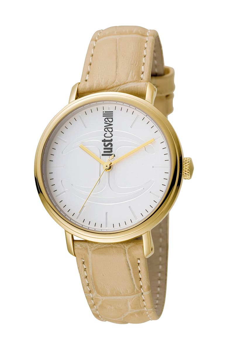 JUST CAVALLI Women's Quartz Embossed Leather Strap Watch, 34mm, Main, color, IVORY
