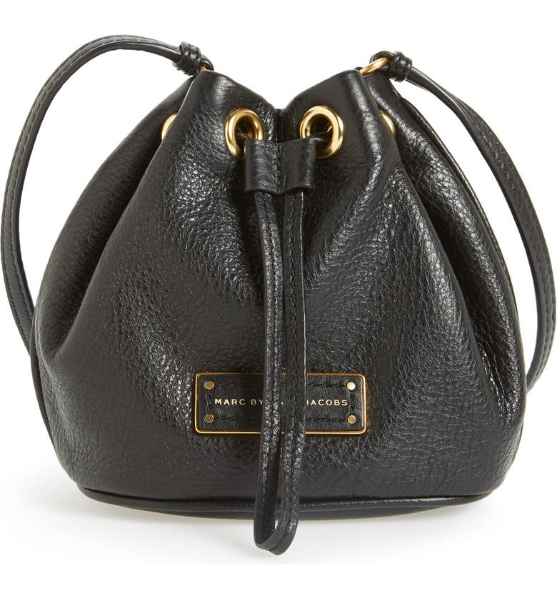 MARC JACOBS MARC BY MARC JACOBS 'Too Hot to Handle' Leather Drawstring Bag, Main, color, 001