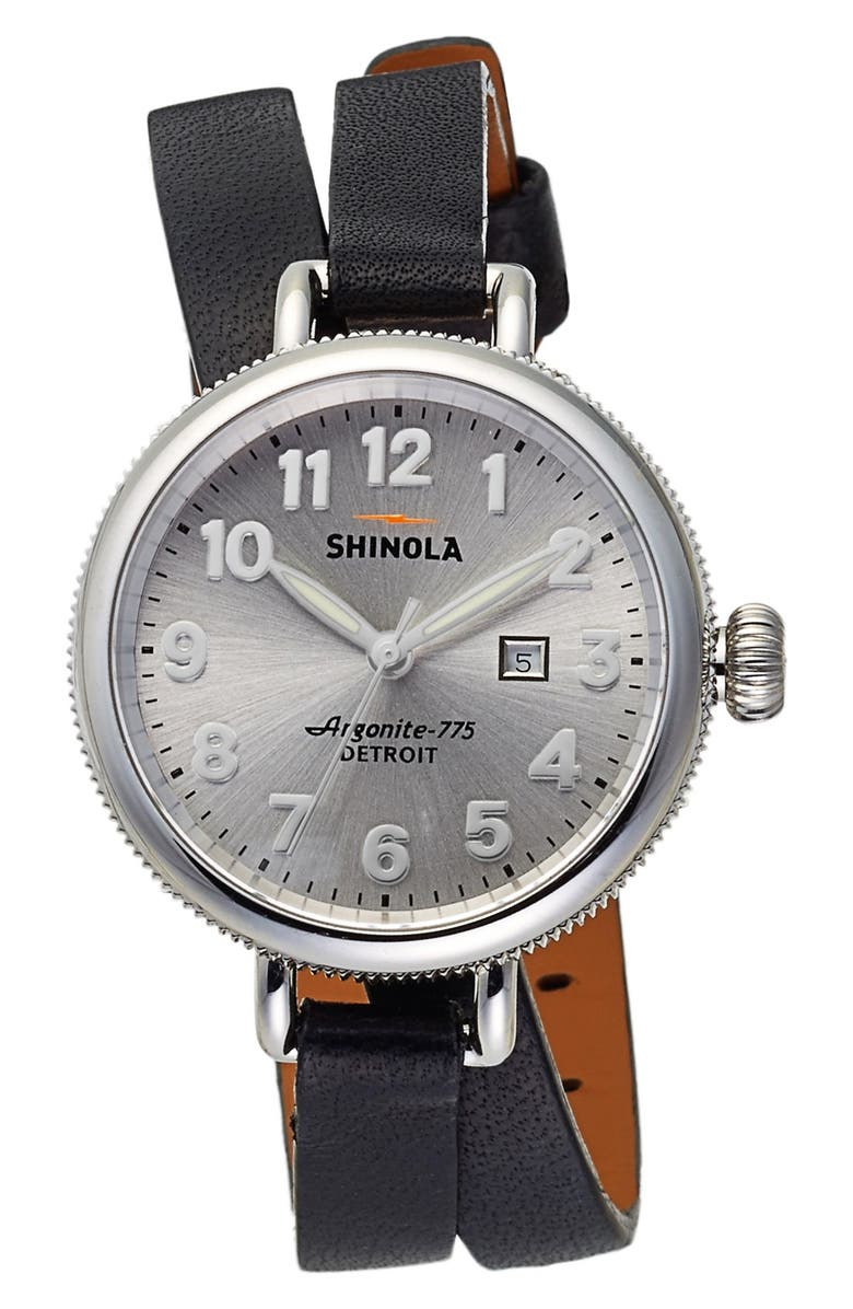 SHINOLA 'The Birdy' Double Wrap Leather Strap Watch, 34mm, Main, color, 001