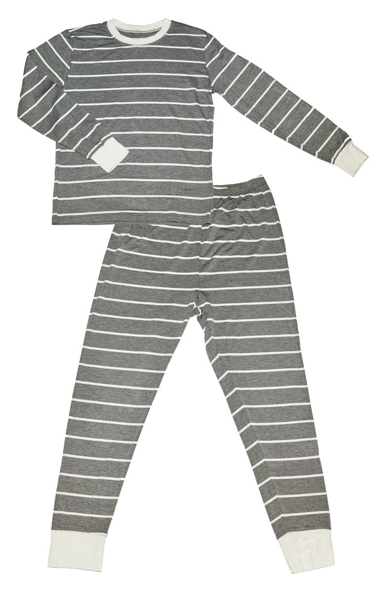 BABY GREY BY EVERLY GREY Fitted Two-Piece Pajamas, Main, color, CHARCOAL