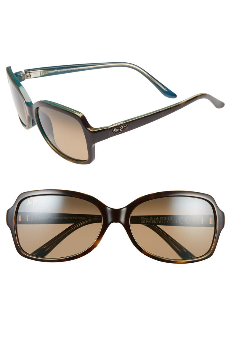 MAUI JIM Cloud Break 56mm PolarizedPlus2<sup>®</sup> Sunglasses, Main, color, TORTOISE PEACOCK/ BLUE/ BRONZE