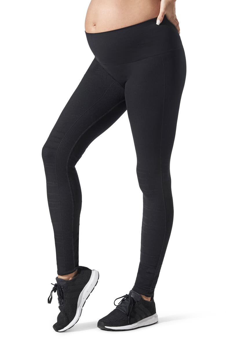 BLANQI SportSupport Hipster Cuff Support Maternity/Postpartum Leggings, Main, color, Black