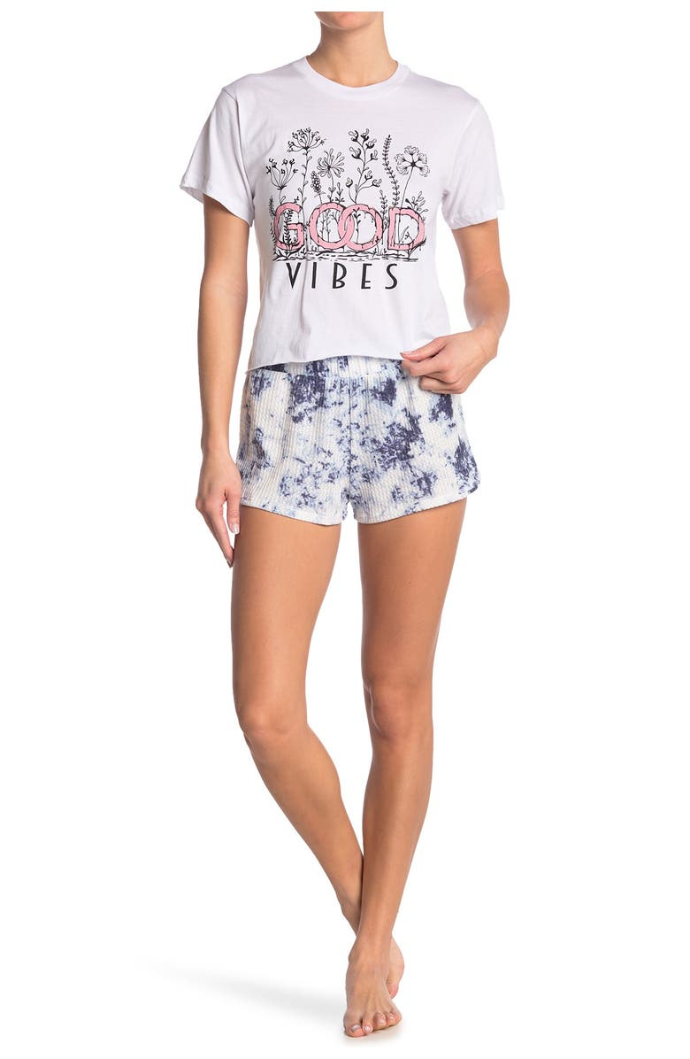 COZY ROZY Short Sleeve Cropped Tee & Tie Dye Shorts, Main, color, WHITE