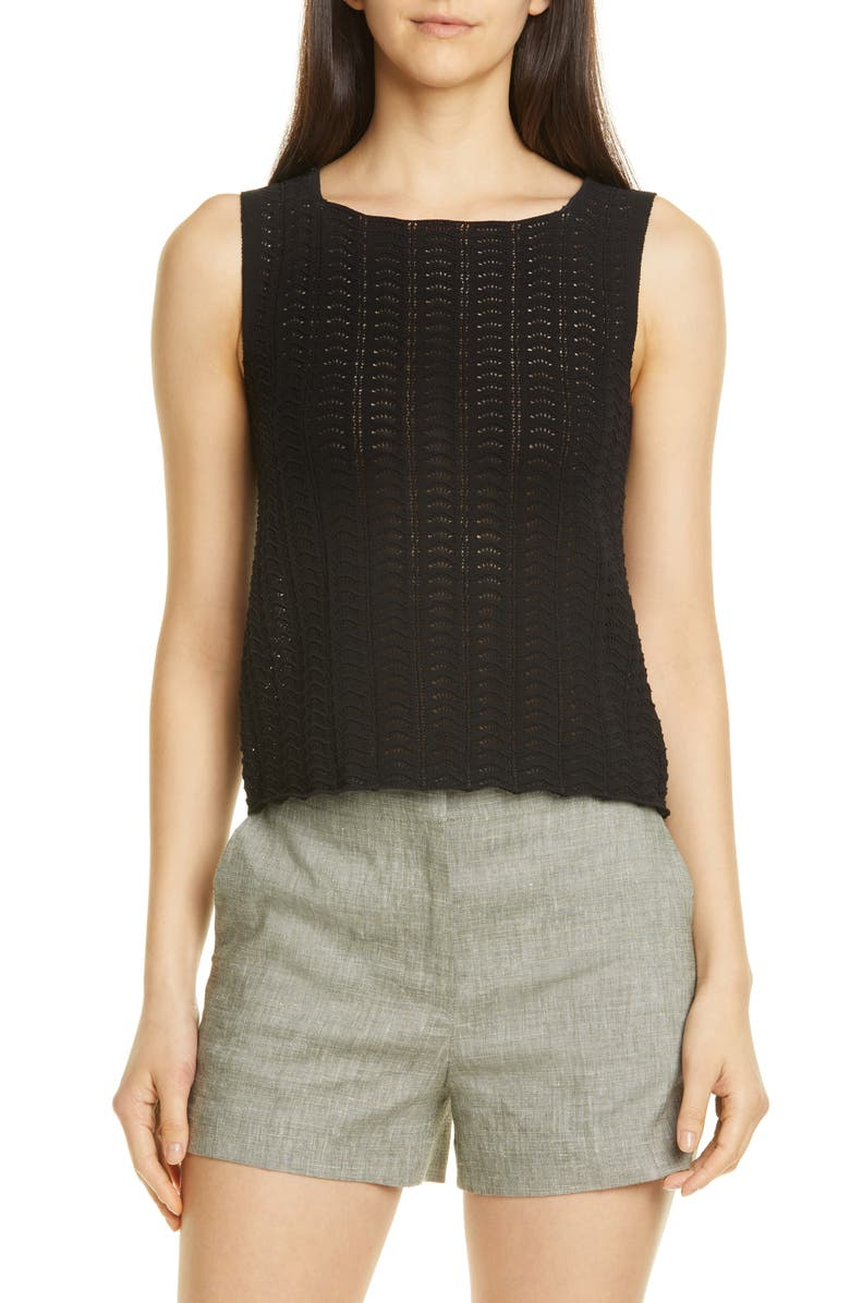 THEORY Crochet Sleeveless Cotton Blend Sweater, Main, color, 001