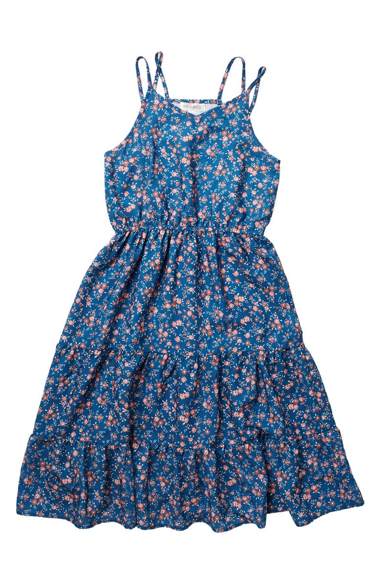 AVA AND YELLY Tiered Maxi Tank Dress, Main, color, DENIM
