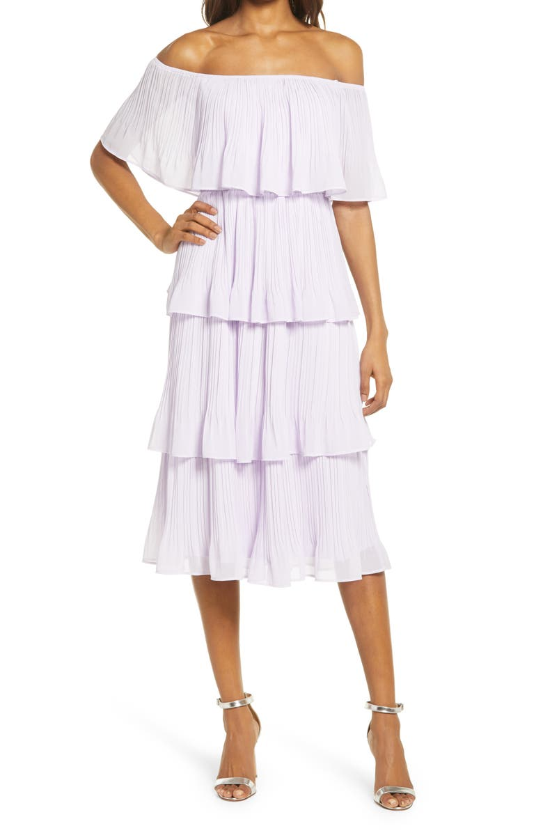 LULUS Gala Ready Off the Shoulder Dress, Main, color, LAVENDER