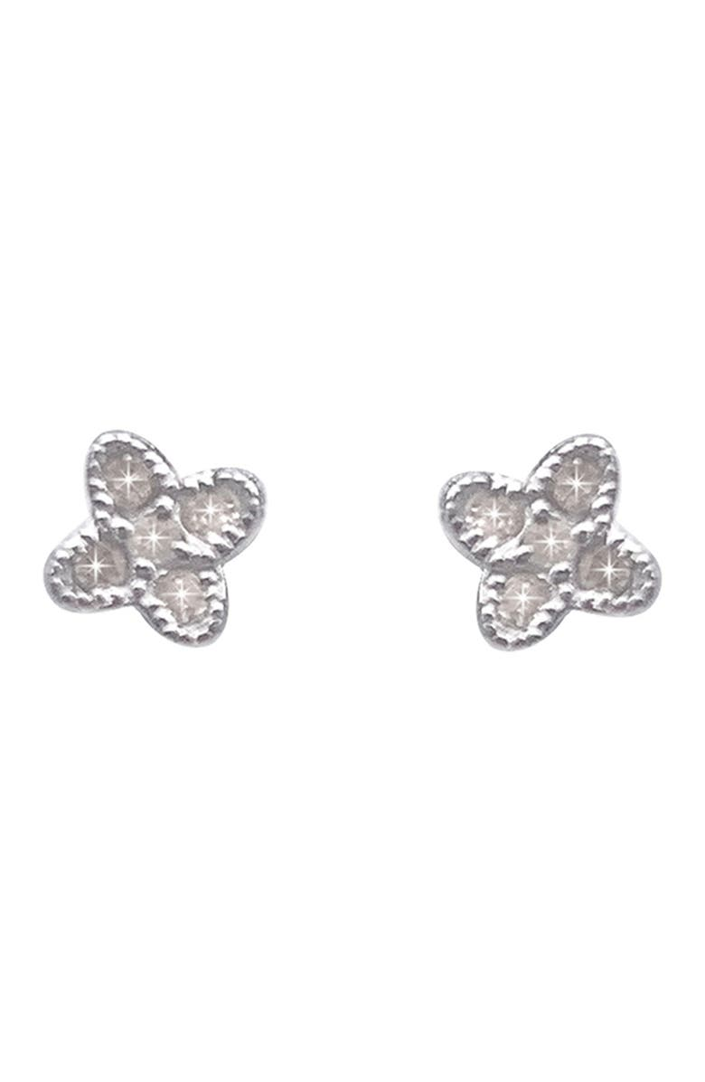ADORNIA FINE White Rhodium Plated Sterling Silver Diamond Clover Stud Earrings - 0.12 ctw, Main, color, SILVER