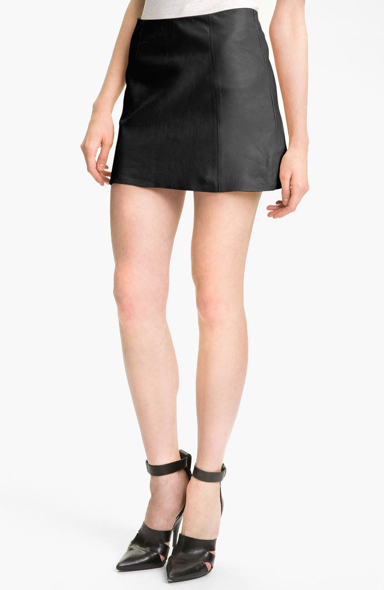 ALEXANDERWANG.T T by Alexander Wang Leather A-Line Miniskirt, Main, color, 001
