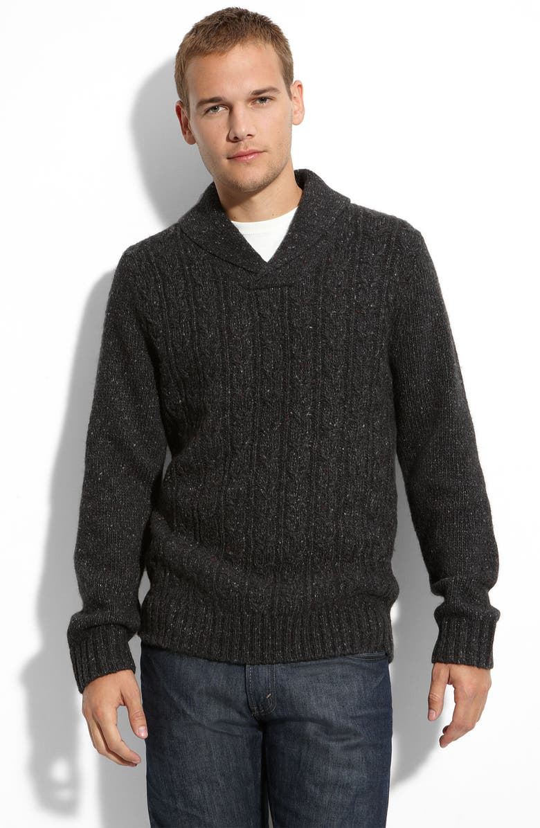PUBLIC OPINION Shawl Collar Wool Blend Sweater, Main, color, Black