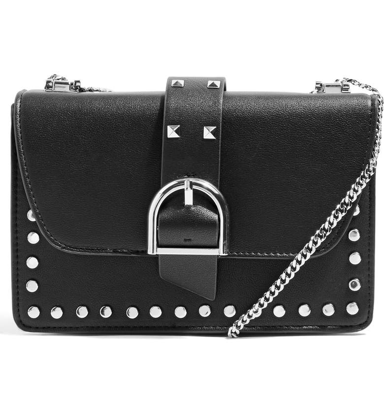 TOPSHOP Buckle Faux Leather Crossbody Bag, Main, color, 001
