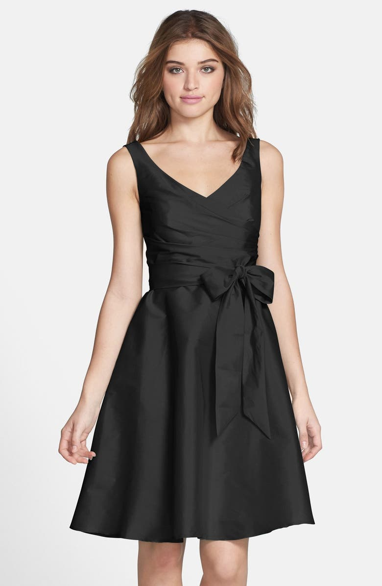 ALFRED SUNG Peau de Soie Fit & Flare Dress, Main, color, 001