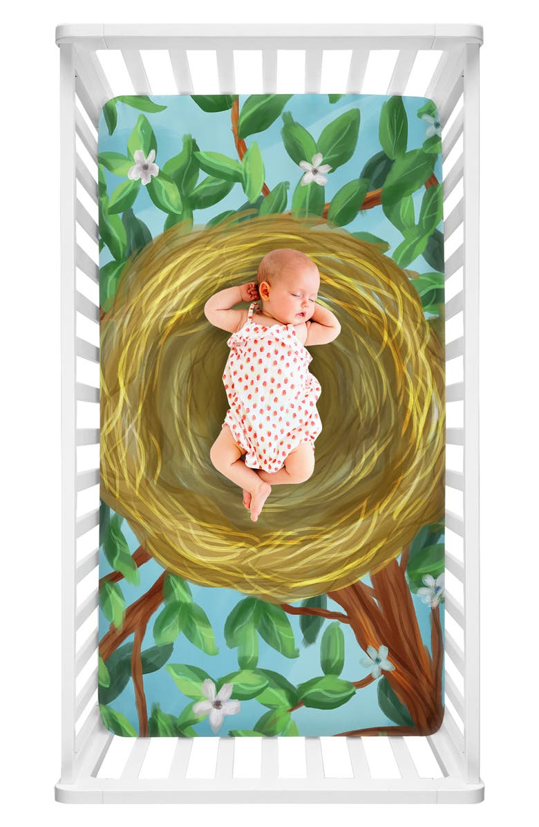 LUVSY Nest Print Fitted Crib Sheet, Main, color, 300