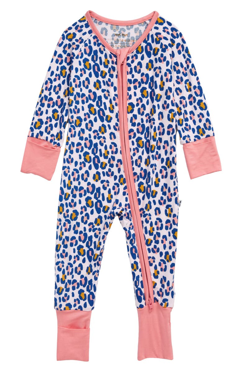 LITTLE SLEEPIES Leopard Fitted One-Piece Pajamas, Main, color, WILD LEOPARD