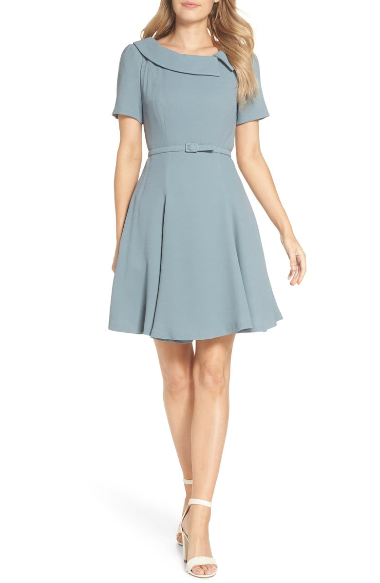 GAL MEETS GLAM COLLECTION Thea Fit & Flare Dress, Main, color, SAGE